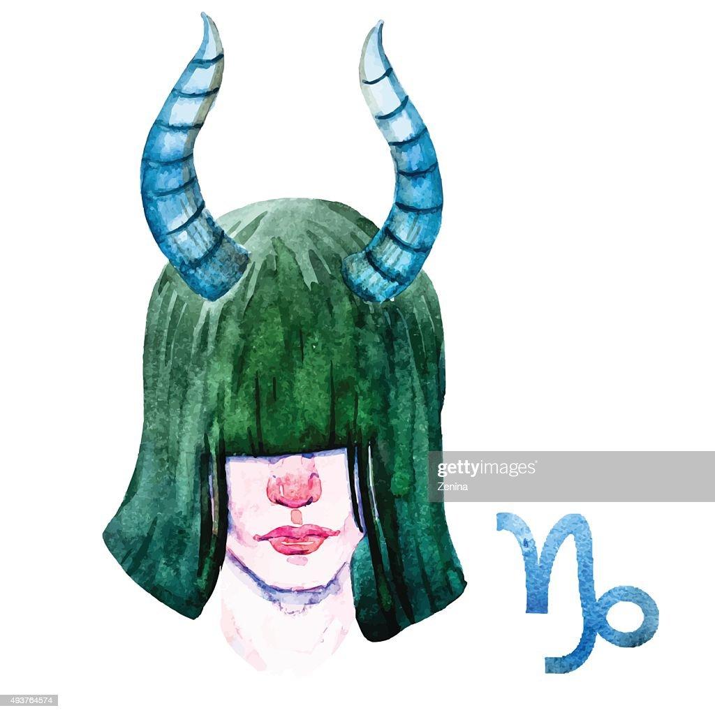 Capricorn horoscope vector