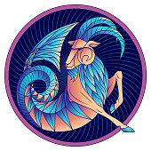 Capricorn zodiac sign horoscope symbol blue vector