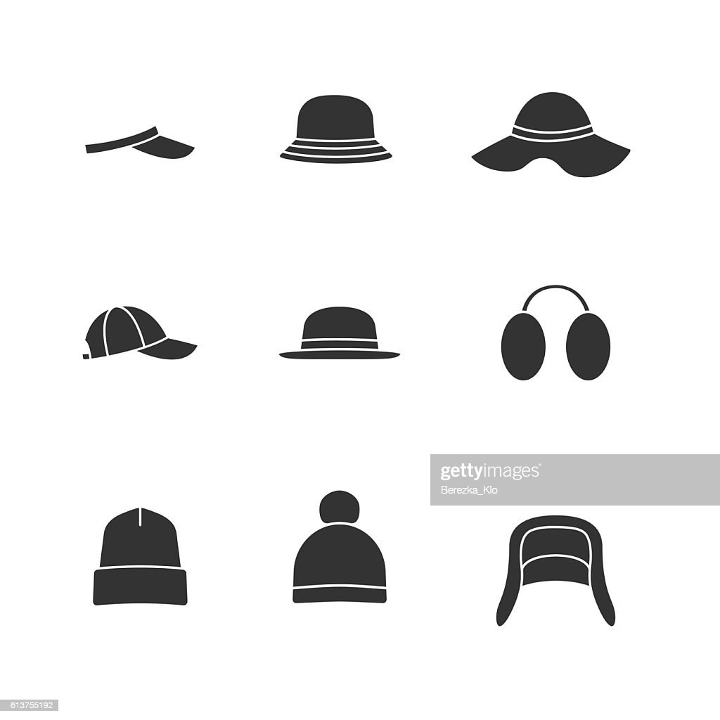 Caps and hats black icons set