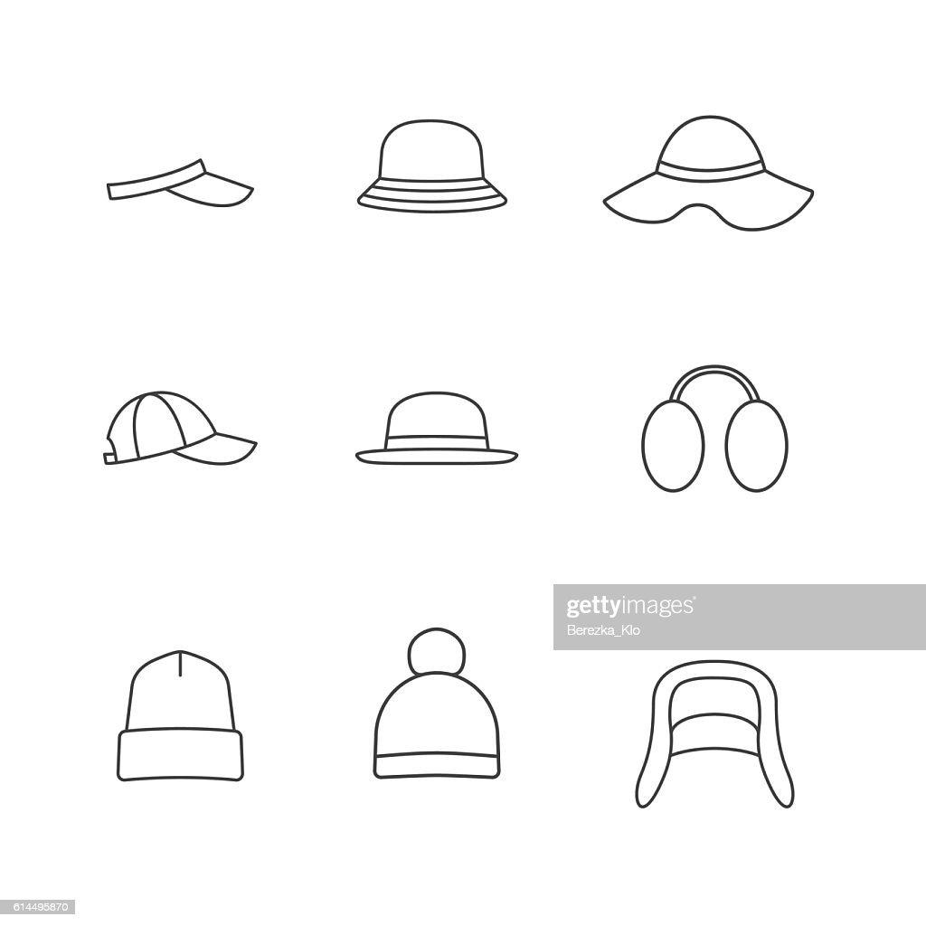 Caps and hats icon set