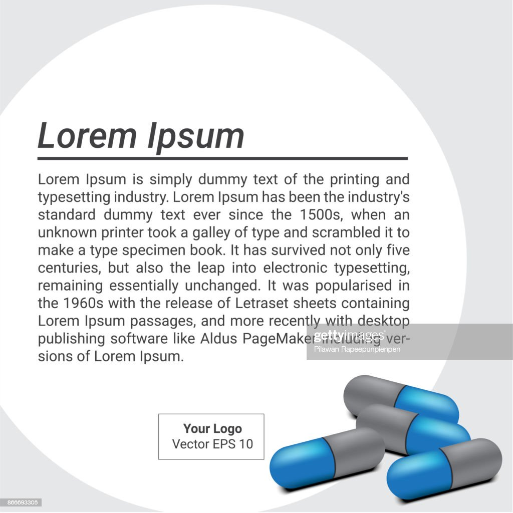 Capsule Medicine Pills With Text Background Banner Vector Design