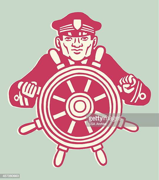 captain at wheel of ship - boat captain stock illustrations, clip art, cartoons, & icons