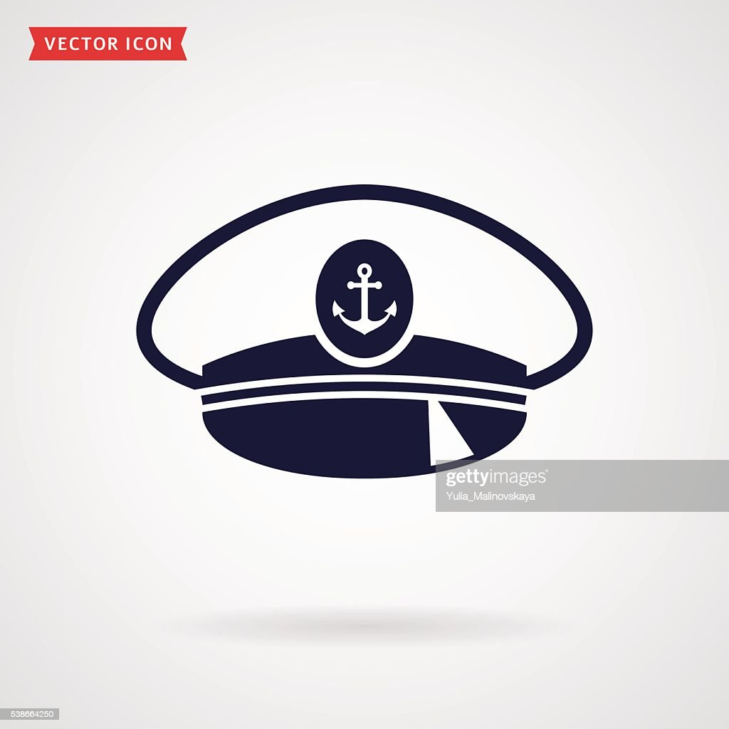 Captain hat. Vector icon.