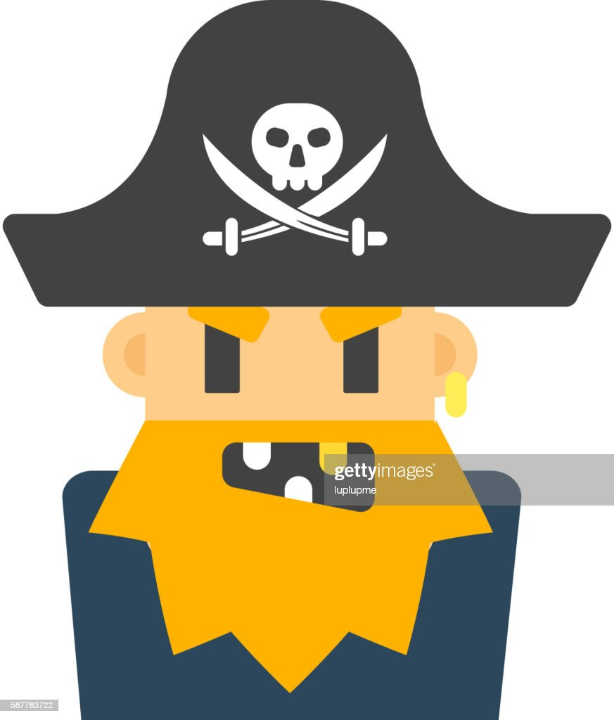 Captain pirate character vector silhouette