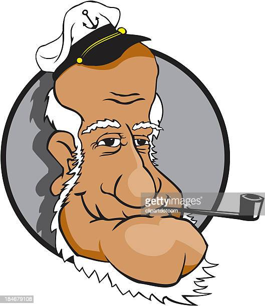 captain - pipe smoking pipe stock illustrations, clip art, cartoons, & icons