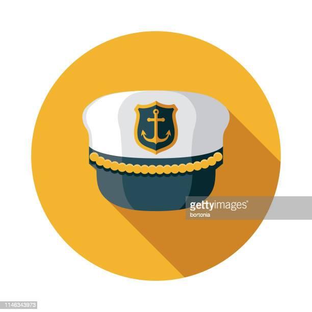 キャプテンのハット航海フラットデザインアイコン - セーラーハット点のイラスト素材/クリップアート素材/マンガ素材/アイコン素材
