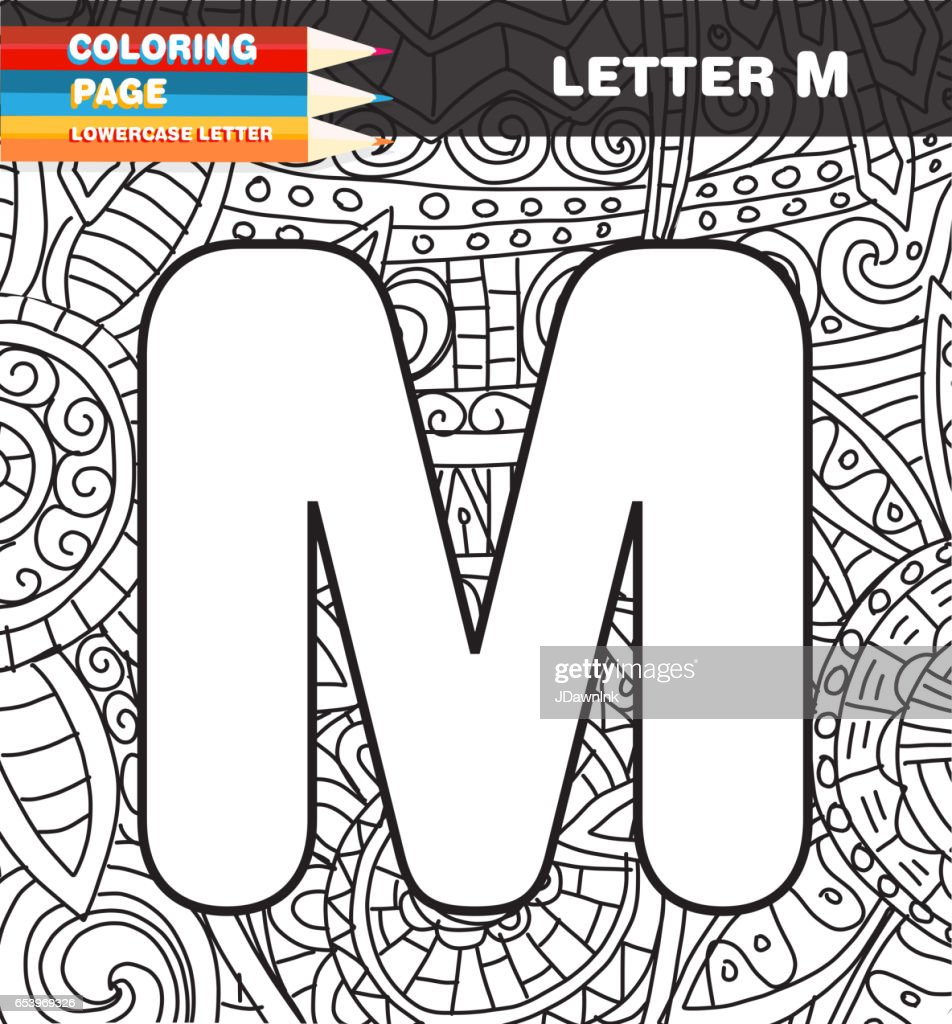 Captial Letter Coloring Page Doodle Vector Art