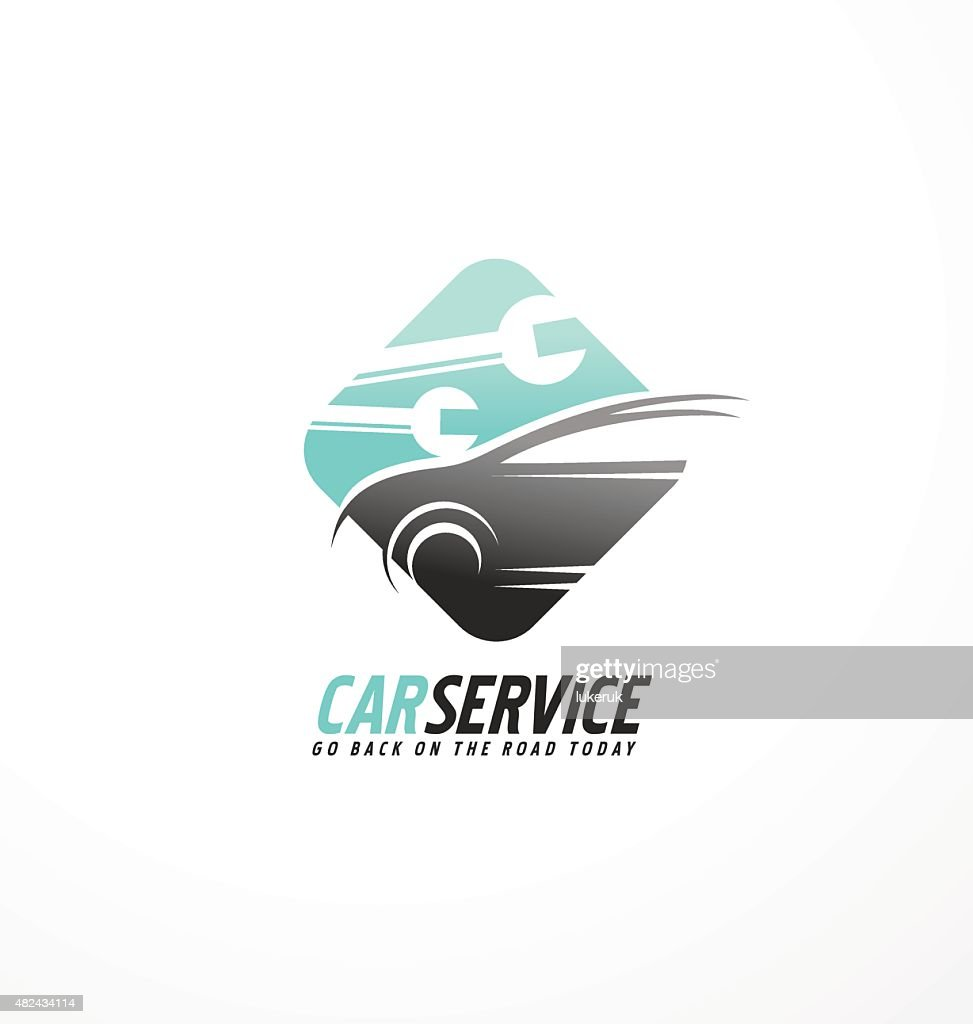 Car abstract vector symbol design concept