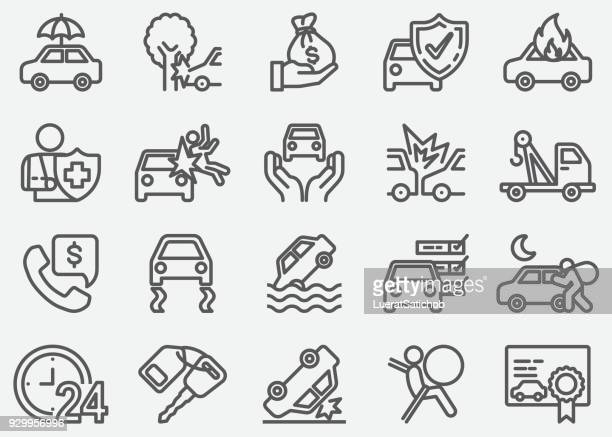 car accident and insurance line icons - land vehicle stock illustrations