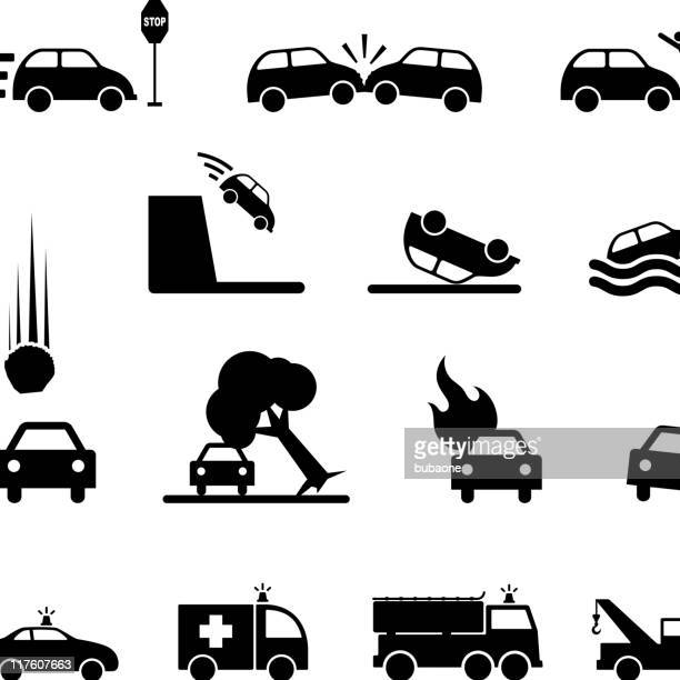 car accident black & white royalty free vector icon set