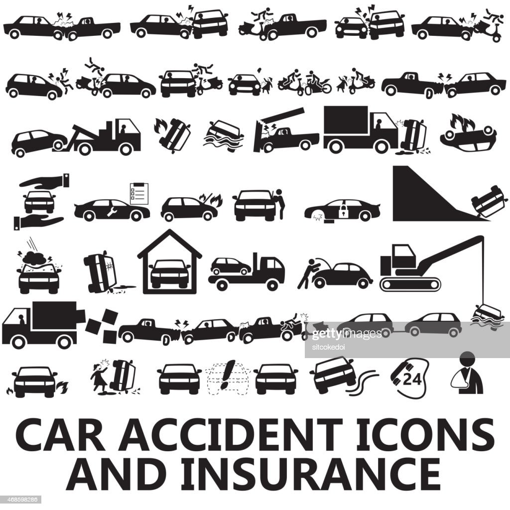 car accident icons and insurance
