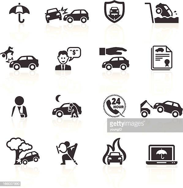 car accident & insurance icons - misfortune stock illustrations, clip art, cartoons, & icons