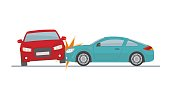 Car accident on white background.