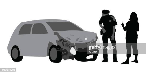 car accident police inspection - vehicle hood stock illustrations, clip art, cartoons, & icons
