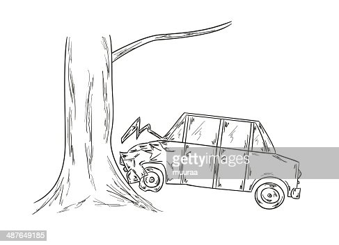 Car Accident Sketch Vector Art | Getty Images