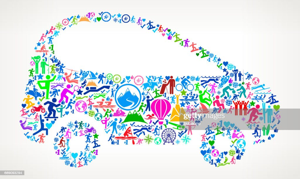 Car  Active Lifestyle Vector Icon Pattern : Stock Illustration