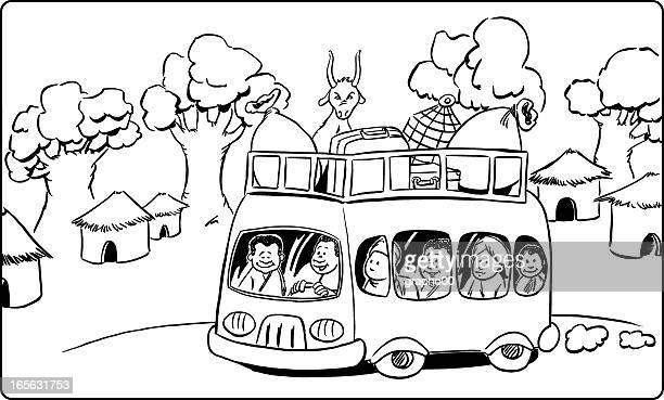 car africain - grass hut stock illustrations