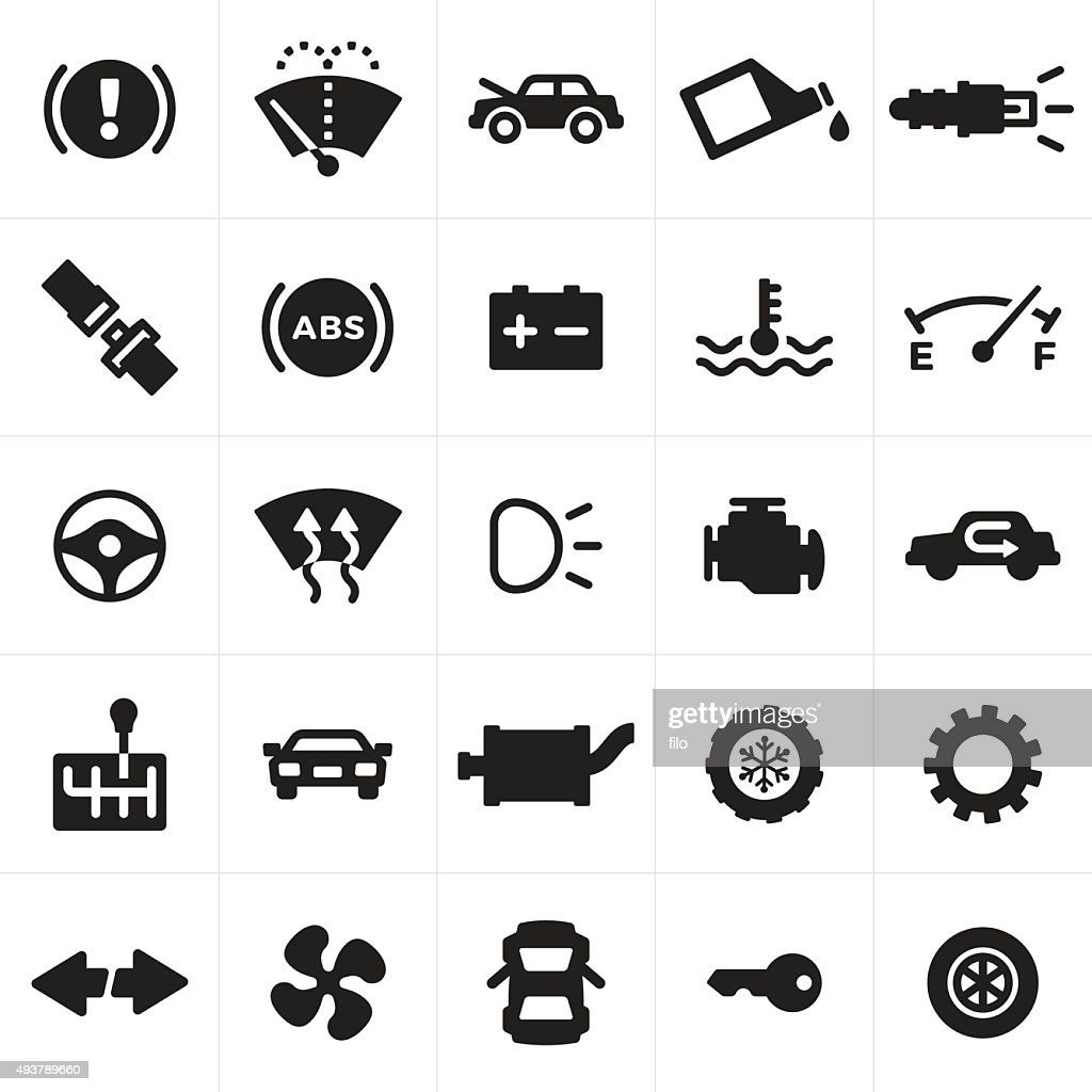 Car and Automotive Symbols and Icons : Stock Illustration