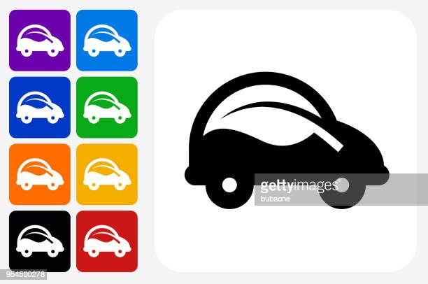 Car and Leaf Icon Square Button Set