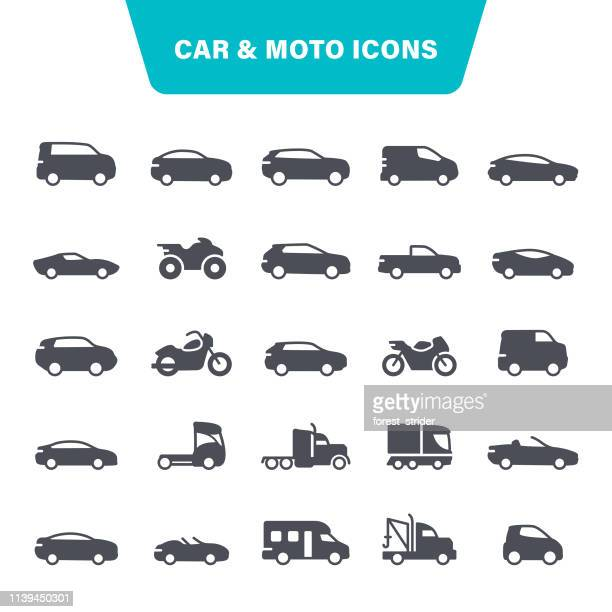 stockillustraties, clipart, cartoons en iconen met auto en motorfiets iconen - auto