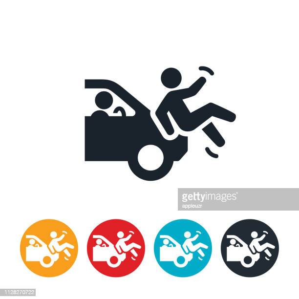 car and pedestrian accident icon - pedestrian stock illustrations