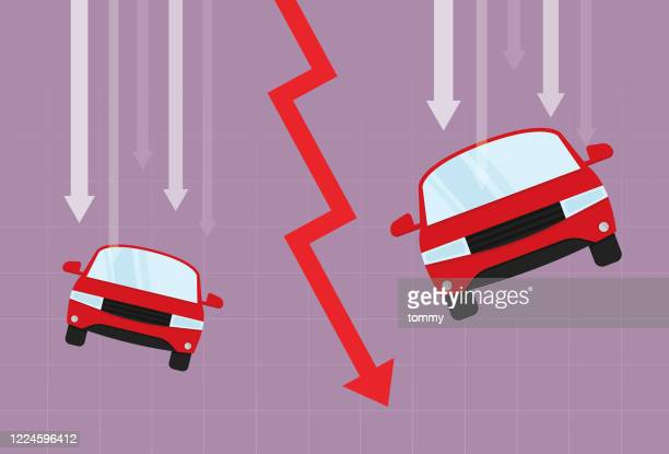 car and red arrow going down - graphic car accidents stock illustrations