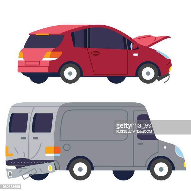 car and truck collision - vehicle hood stock illustrations, clip art, cartoons, & icons