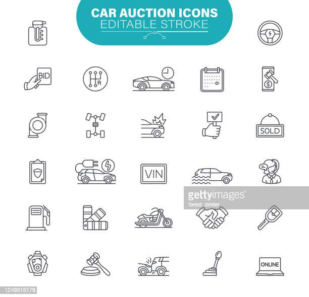 car auction icons. set contains icon as transportation, bidding, sold, auction hammer, vehicle, illustration - bid stock illustrations