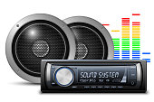 Car audio with speakers. Vector illustration