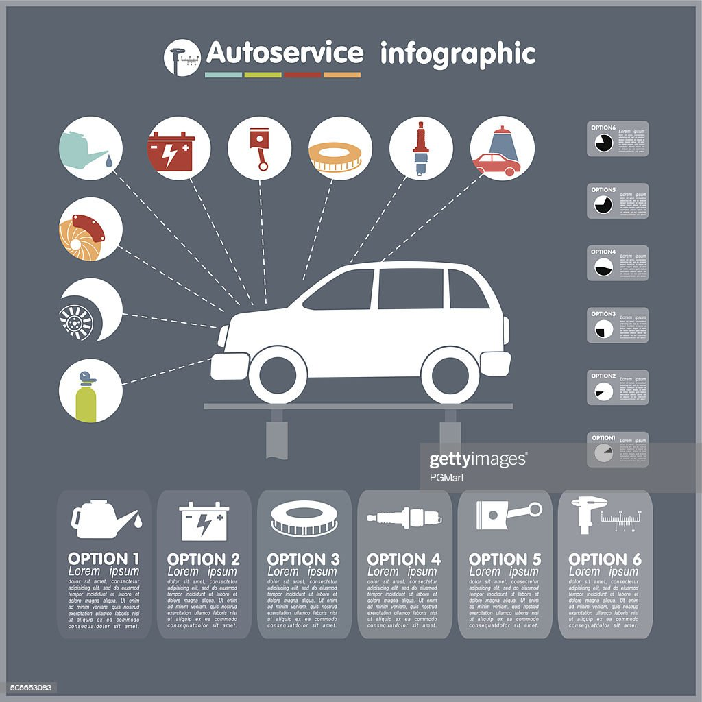 Car auto service infographics design elements with mechanical parts icons