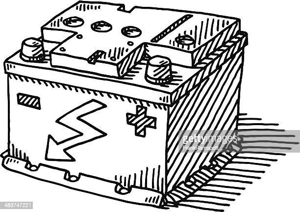 car battery drawing - car battery stock illustrations, clip art, cartoons, & icons