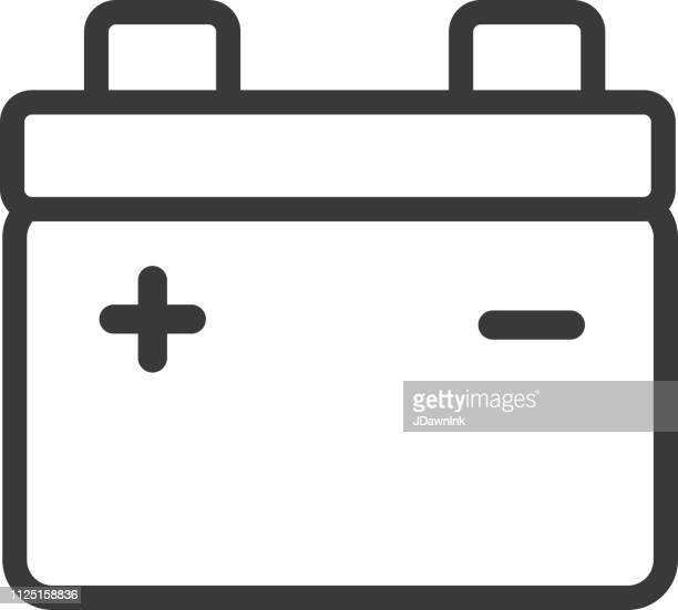 car battery flat simple outline line art design icon - car battery stock illustrations, clip art, cartoons, & icons