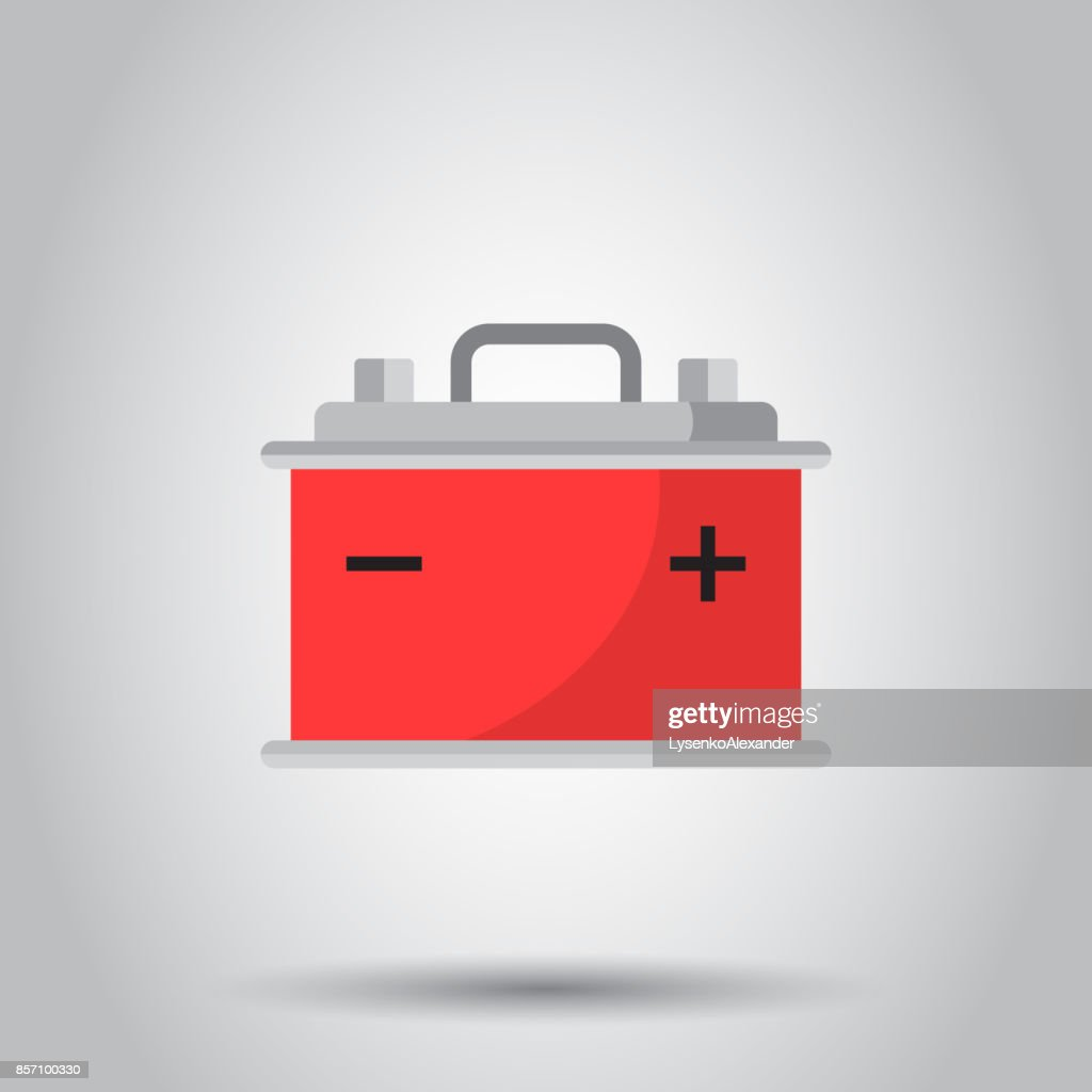 Car Battery Flat Vector Icon On Gray Background Auto Accumulator