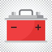Car battery flat vector icon on isolated background. Auto accumulator battery energy power illustration. Simple business concept pictogram.