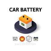 Car battery icon in different style