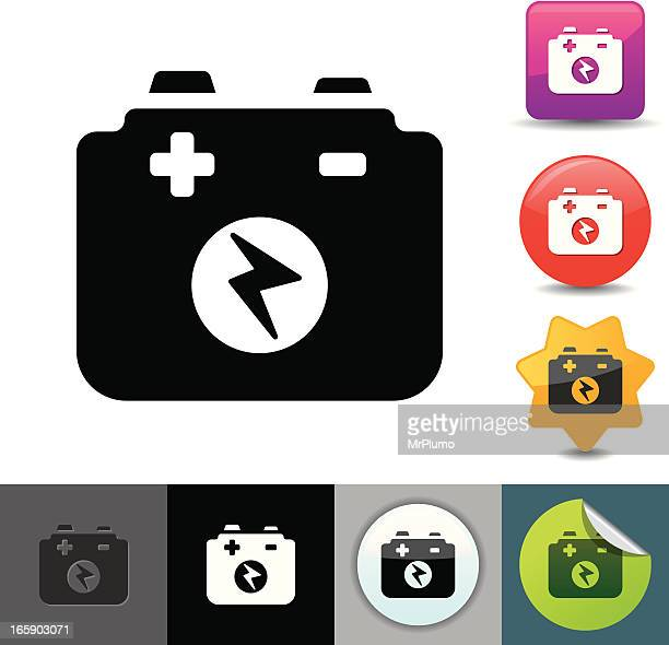 car battery icon | solicosi series - car battery stock illustrations, clip art, cartoons, & icons