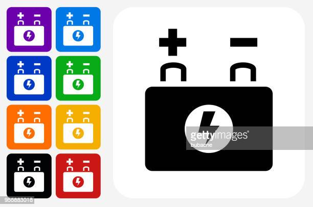 car battery icon square button set - car battery stock illustrations, clip art, cartoons, & icons