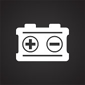 Car battery on black background for graphic and web design, Modern simple vector sign. Internet concept. Trendy symbol for website design web button or mobile app.