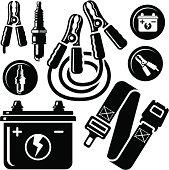 Car Battery,Spark Plug,Safety Belt,Jump Leads Icons