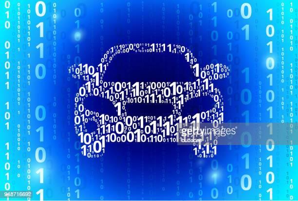 Car Binary Code Blue Vector Pattern Background