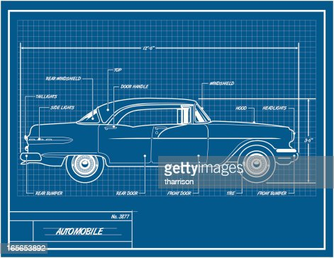 Car blueprint vector art getty images malvernweather Images