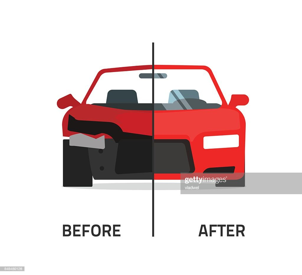 Car body frame repair service vector, crushed and repaired auto