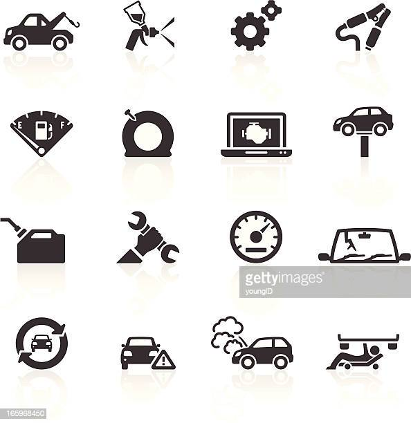 car breakdown & repair icons - cracked stock illustrations