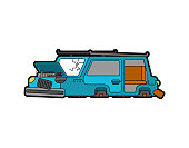 Car broken isolated. Auto and Blown wheels. shattered glass. Vector illustration