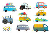Car Bus Taxi Police Truck Bicycle Clipart