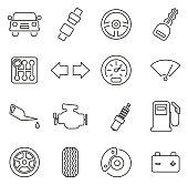 Car & Car Parts Icons Thin Line Vector Illustration Set