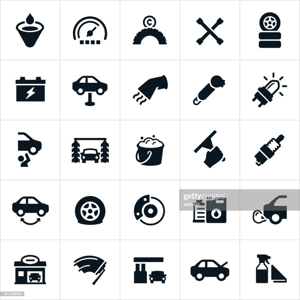 Car Care and Maintenance Icons