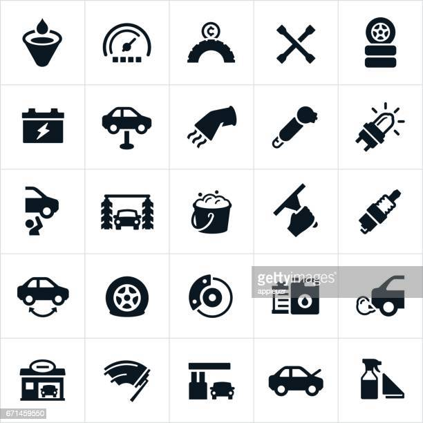 car care and maintenance icons - car battery stock illustrations, clip art, cartoons, & icons