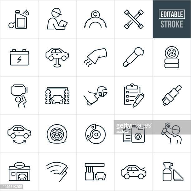 illustrations, cliparts, dessins animés et icônes de car care thin line icônes - avc editable - station de lavage auto