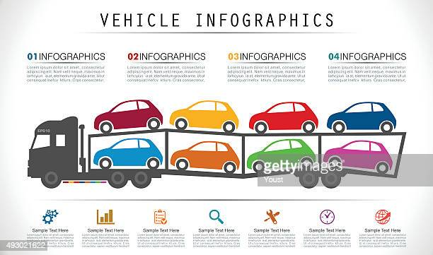 car carrier trailer infographics - buy single word stock illustrations, clip art, cartoons, & icons